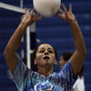 Ginny Fleming of the Peabody volleyball team participates in a drill during practice at the high school yesterday afternoon. Photo by Deborah Parker/September 2, 2009