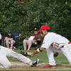 Masco's Braden Kowalski tags Wilmington's Chris Frissore before he could first base during Monday's Division 2 North quarterfinal's state tournament game  held in Topsfield. Photo by Deborah Parker/June 7, 2010