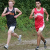 Ipswich's Kieran Kinnare and Masco's Ben Hiromura run next to one another while competing in yesterday's meet held at Bradley Palmer State Park. Photo by Deborah Parker/September 23, 2009