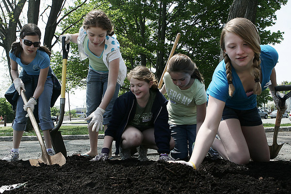 "Beverly: From left, sixth graders Kristen Lupini, Ysabelle Errico, Annalise Errico, fourth grade, Sarah Van Ness, and Astrid Swensen help to lay down mulch while attending the Build a Better Briscoe Community Day at Briscoe Middle School.  Volunteers helped to place mulch and plant flowers and shurbs in the front of the building. Every elementary school also donated a tree, which will be planted along Colon Street, and named ""Elementary Way."" Photo by Deborah Parker/May 16, 2009"