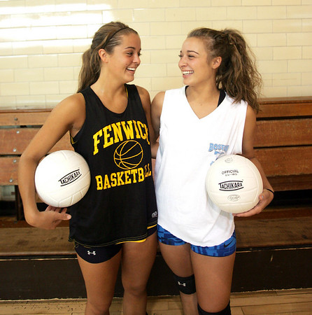 Twins, Becca and Sarah Green, are starters on the Bishop Fenwick volleyball team this fall. Photo by Deborah Parker/August 31, 2010