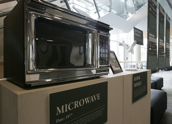 Archives of the Raytheon Company have been donated to Gordon College and are currently on display in the lobby of the new Ken Olson Science Center. Two items on display are the microwave and a model of the Hawk Missle. Photo by Deborah Parker/June 10, 2009
