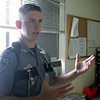 Ryan Broughey, a correctional officer at the Middleton Jail, was named soldier of the year by the Massachusetts National Guard following a tour in Iraq hunting for IEDs. Here he talks about his experience in Iraq. photo by deborah parker/june 18, 2010<br /> <br /> , Ryan Broughey, a correctional officer at the Middleton Jail, was named soldier of the year by the Massachusetts National Guard following a tour in Iraq hunting for IEDs. Here he talks about his experience in Iraq. photo by deborah parker/june 18, 2010