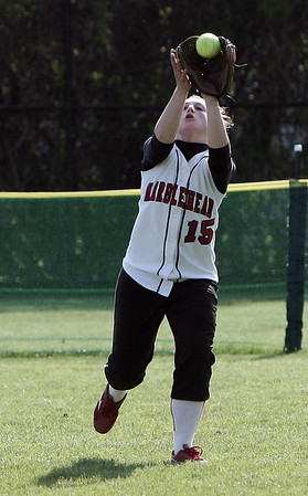 Marblehead: Center fielder, Sam Norman makes the catch for the out during yesterday's game against Danvers. Photo by Deborah Parker/May 13, 2009