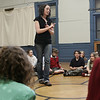 Producer Kim Kurczy speaks to the North Shore YMCA Theatre Company before the rehearsal of their first show, Annie Jr. <br /> The play is part of the YMCA's vision for a Creative Arts Center at the Salem YMCA. Photo by Deborah Parker/May 28, 2009