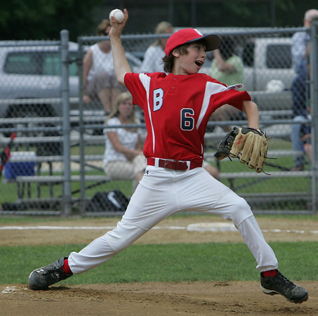 Boxford's Kyle Casey throws out a pitch against Manchester Essex during yesterday's Williamsport tournament game held at Moulton Field in Danvers. Photo by Deborah Parker/June 29, 2010
