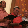 From left, Cantors Coleman Reboi, Pharrel Wener, and Sheldon Chandler rehearse a song with The North Shore Cantors at Temple Beth Shalom Monday evening. They will be holding a special concert at Temple Beth Shalom in Peabody on Wednesday, August 18, at 6:30 p.m. Cantor Emil Berkovits rehearses a solo. Photo by Deborah Parker/August 16, 2010