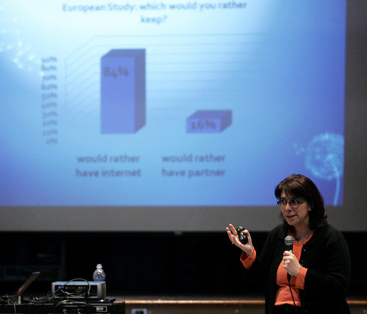 Dr. Liz Englander, director of the Massachusetts Aggression Reduction Center, speaks to parents during a presentation Monday evening about cyber bullying held at the Higgins Middle School. Photo by Deborah Parker/May 10, 2010