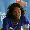 Before playing against the Boston Lobsters, Wimbledon winner Serena Williams held a press conference at the Sheraton Ferncroft to talk about her recent win. Photo by Deborah Parker/July 9, 2009