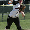 Marblehead: Third baseman Kate Fallon throws to first during yesterday's game against Danvers. Photo by Deborah Parker/May 13, 2009