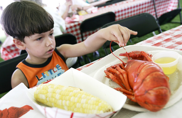 Nicholas Grobbereo, 4, of Beverly, plays with his lobster instead of eating it during the Lobster Festival at Lynch Park, part of Beverly Homecoming. Photo by Deborah Parker/August 5, 2009