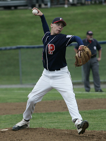 Peabody West's Austin Batchelder throws out a pitch against Lynnfield during yesterday's Little League sectionals held at Wyoma Field. Photo by Deborah Parker/July 23, 2009