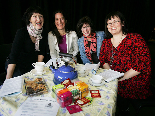 """The Marblehead Little Theatre is beginning a new program, """"Have You MLT(d) today?"""" -- meant to increase membership through teas, book clubs, writing groups and talks. From left, Janet Sheehan, Susan Griffin, Shari Frost and Nora Falk. Photo by Deborah Parker/January 12, 2009"""