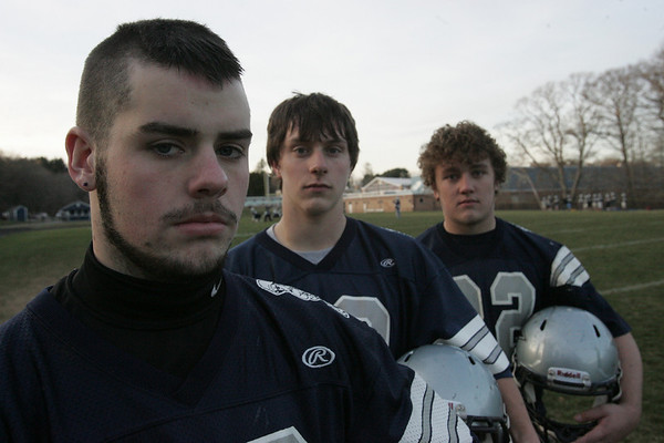 From left, Zach Dolan, Kevin Anthony and Elliot Burr, the middle linebackers for the Hamilton Wenham Generals. Photo by deborah parker/november 29, 2010