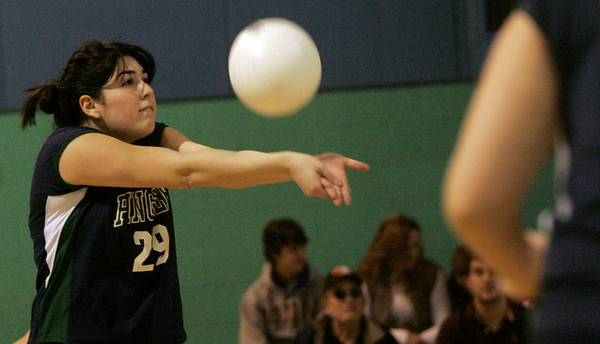 Hamilton: Pingree's Alexandra Glazer volleys the ball during yesterday's volleyball match against Chapel Hill-Chauncey Hall held at Pingree. Photo by Deborah Parker/Salem News Friday, January 23, 2009.