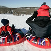 Topsfield: The Nolan family of Danvers prepares to make their way down Wheatland Hill while sledding Saturday morning. From left is Gavin, 6, and this brother Tobin, 3, dad Bill. Photo by Deborah Parker/Salem News Saturday, January 24, 2009.