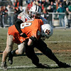 Beverly: Salem's Tyler Mason takes down Beverly's Dylan Terry during Thursday's Thanksgiving Day game held at Hurd Stadium. Photo by Deborah Parker/Salem News Thursday, November 27, 2008.