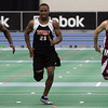 From left, Peabody's Nate Gaye, Beverly's George Louis and Gloucester's Jared Wright compete in the 55 meter dash during yesterday's NEC Championship meet held at the Reggie Lewis Center in Boston. Photo by Deborah Parker/February 4, 2009