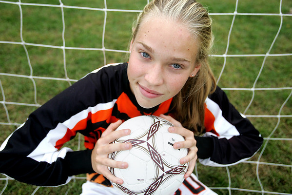 Ipswich High girls soccer goalkeeper Hannah O'Flynn. Photo by Deborah Parker/September 22, 2009