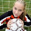 Ipswich High girls soccer goalkeeper Hannah O'Flynn. Photo by Deborah Parker/September 22, 2009