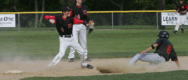 Beverly's Andy Brown slides into second as Marblehead's Rob Pollock throws to first during yesterday's game held at Cooney Field in Beverly. Photo by Deborah Parker/May 12, 2010