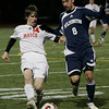 Reading: Masco's Kevin McAllister keeps the ball from Wilmington's Kevin Flaherty during MIAA tournament action in Readying last night. Masco beat Wilimington 1-0 in double overtime. Photo by Deborah Parker/Salem News Thursday, Novemebr, 13, 2008.