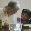Morgan Ruebel, 5 of Ipswich chats with her grandmother Mary Ellen Reubel of Raynham, during lunch at the Doyon Elementary School. This week students were invited to bring their grandparent to lunch. Photo by Deborah Parker/november 16, 2010