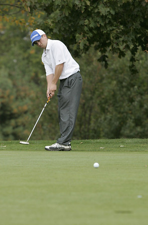 Marblehead: Danvers' Jay Rinaldi puts on hole nine during the Northeastern Conference Golf Open held at Tedesco Country Club Thursday afternoon.<br /> Photo by Deborah Parker/Salem News Thursday, October 16, 2008