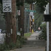 The city of Salem is trying to crack down on utility companies for double poles. Several double utility poles line the Endicott Street neighborhood. Photo by Deborah Parker/October 5, 2010
