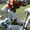 Beverly : Beverly's Rashad Sims is stopped just short of the end zone by Lynn Classical's defensive line during yesterday's game held at Hurd Stadium. Photo by Deborah Parker/Salem News Saturday, September 20, 2008