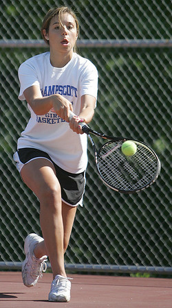 Swampscott's Kara Gilberg competes in second singles in yesterday's tennis match against Peabody held in Peabody. Photo by Deborah Parker/May 21, 2010