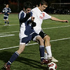 Reading: Masco's Andrew Panella fights for control of the ball with Wilmington's LIam Gately during MIAA tournament action in Readying last night. Masco beat Wilimington 1-0 in double overtime. Photo by Deborah Parker/Salem News Thursday, Novemebr, 13, 2008.