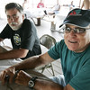 Mark Lovely and Brad Peckham, both of Salem, attend the Salem Witch City Post 1524, VFW, barbeque held at Camp Naumkeag Saturday. Photo by Deborah Parker/August 22, 2009