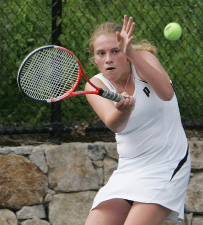 Marblehead's Mary Lindsay Ryan competes in second singles against Belmont during yesterday's Division 2 North state tournament quarterfinals match held in Marblehead. Photo by Deborah Parker/June 8, 2010