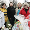 Beverly: From left, Emily Matsumoto, Pat Allen, Melissa Oraibi, Gin Wallace, Sandra Griffel and Jan Preston, all volunteers for the Beverly Magical History Tour, a historical scavenger hunt through downtown Beverly gather at Veterans Park to help sign people in. The event was hosted by Beverly Main Streets. Photo by Deborah Parker/Salem News April 18, 2009.