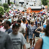 Crowds file into the street following the end of the parade celebrating the 375th anniversary of Ipswich. The celebration included the parade, speakers, picnic and concert. Photo by Deborah Parker/August 9, 2009