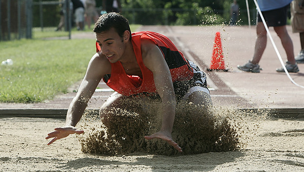 Beverly: Beverly's Dan Modahl competes in the triple jump during yesterday's meet held at Beverly High School. Photo by Deborah Parker/May 20, 2009.
