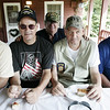 From left, Roger Leger, J.C. Martineau, Commander Bruce Salaman, Veterans Agent Jean Jean-Guy Martineau, and John Wilkinson, all of Salem, attend the Salem Witch City Post 1524, VFW, barbeque held at Camp Naumkeag Saturday. Photo by Deborah Parker/August 22, 2009