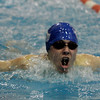 Salem: St. John's Bredan Sweeney competes in the 100 meter butterfly during yesterday's Catholic Conference Meet against B.C. High held at Salem State College. Photo by Deborah Parker/Salem News Saturday January 31, 2009.