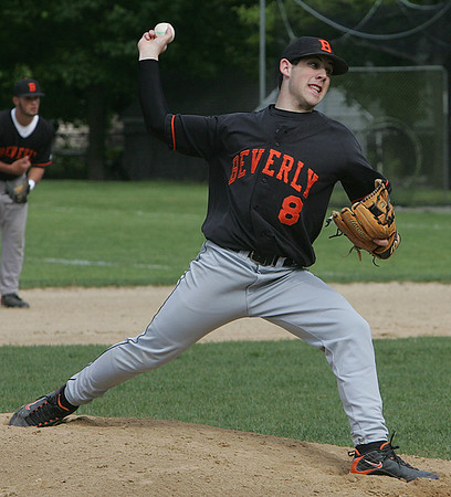 Beverly's Chris Mitchell throws out a pitch against Marblehead during yesterday's game held at Cooney Field in Beverly. Photo by Deborah Parker/May 12, 2010<br /> nsfersSN, Beverly's Chris Mitchell throws out a pitch against Marblehead during yesterday's game held at Cooney Field in Beverly. Photo by Deborah Parker/May 12, 2010<br /> nsfersSN