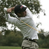 Marblehead: Gloucester's Josh Salah tees off during the Northeastern Conference Golf Open held at Tedesco Country Club Thursday afternoon.<br /> Photo by Deborah Parker/Salem News Thursday, October 16, 2008