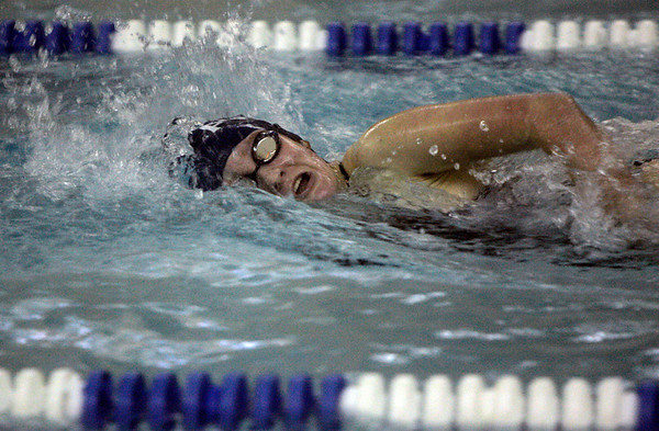 Peabody: Peabody's Nicole Stantial competes in the 200 meter freestyle against Marblehead during Thursday's meet at the Peabody YMCA. Photo by Deborah Parker/Salem News Thursday, December 18, 2008.