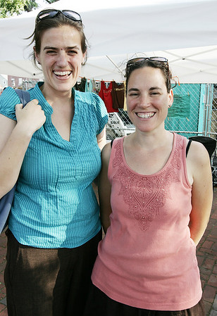 Emily Nichols of Beverly and Estelle Rand, organizer of the Beverly Farmers Market, pose together while at the Farmers Market Monday evening. Photo by Deborah Parker/August 17, 2009