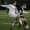 Reading: Masco's Stephen Kracanas fights for control of the ball with  Wilmington's Christopher Dicecca during MIAA tournament action in Readying last night. Masco beat Wilimington 1-0 in double overtime. Photo by Deborah Parker/Salem News Thursday, Novemebr, 13, 2008.