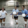 Peabody volleyball players from left, Brianna Waldrop, Janel Rodriguez and Ginny Fleming. Photo by Deborah Parker/September 2, 2009