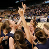 Worcester: The Swampscott girl's basketball team celebrate on the court after defeating Quaboag Regional High School to win the State Championship game held at the DCU Center in Worcester Saturday. Photo by Deborah Parker/Salem News Saturday March 14, 2009.