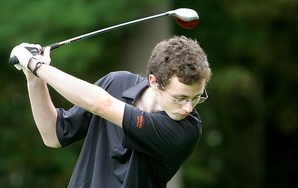 Ipswich High golf team captian, Mark Gallant tees off at the third hole during a golf match against Newburyport held at the Ipswich Country Club Tuesday afternoon. Photo by Deborah Parker/September 22, 2009
