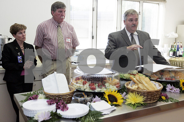 Topsfield:James O'Brien, general manager of the Topsfield Fair, talks to a group at Coolidge Hall during a media preview for the 2008 Topsfield Fair. Behind O'Brien are, Priscilla Gerrard, Vice President of the Topsfield Fair, and Peter Gibney, president of the Essex Agricultural Society. <br /> Photo by Deborah Parker/Salem News Thursday, September 04, 2008