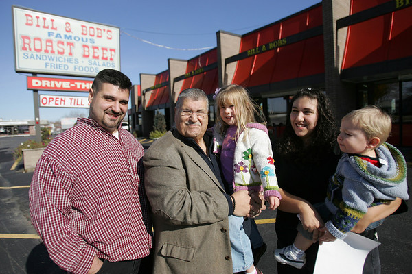 Nondas Lagonakis, owner of Bill and Bob's Roast Beef, stands with his son, Angelo Lagonakis, his daugther Maria Lagonakis-McNulty and her two children, Donovan and Arianna. The restaurant will be celebrating 40 years in business. Photo by Deborah Parker/November 4, 2009