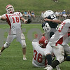 Danvers: Masconomet's (* #18 is not on roster) looks to make a successful pass in the end zone during Saturday's game held at St. John's. As of the third period St. John's was leading 22-7.<br /> Photo by Deborah Parker/Salem News Saturday, September 06, 2008